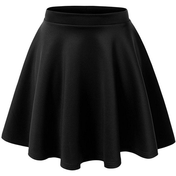 Women's Basic Solid Versatile Stretchy Swing Mini Skater Skirt ($8.99) ❤ liked on Polyvore featuring skirts, mini skirts, flared mini skirt, mini skirt, wide skirt, stretch skirts and circle skirt
