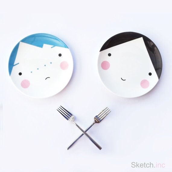 Face Plate Ebony Black and White Bone China by SketchInc