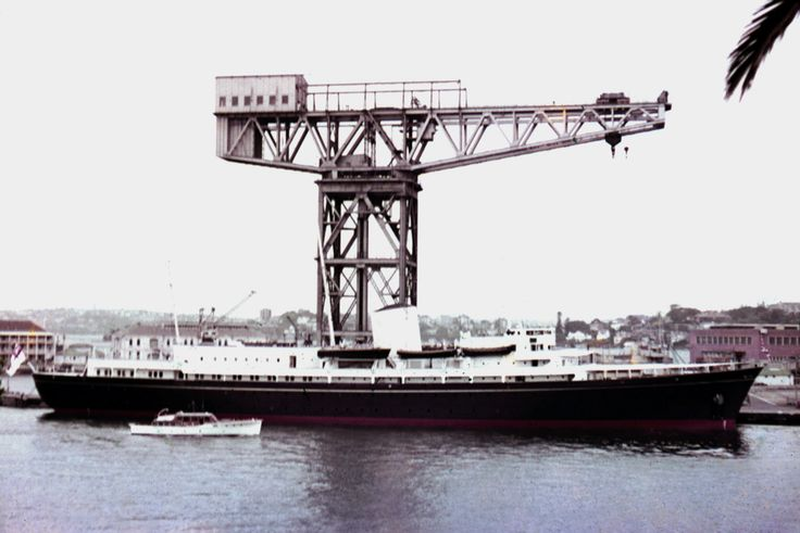Royal Yacht Britannia moored at Garden Island, Sydney, 1954 shows Hammerhead Crane. Shirley Sierins photo.