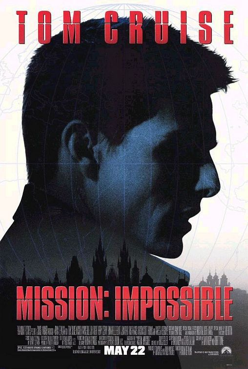 MISSION: IMPOSSIBLE (1996): An American agent, under false suspicion of disloyalty, must discover and expose the real spy without the help of his organization.