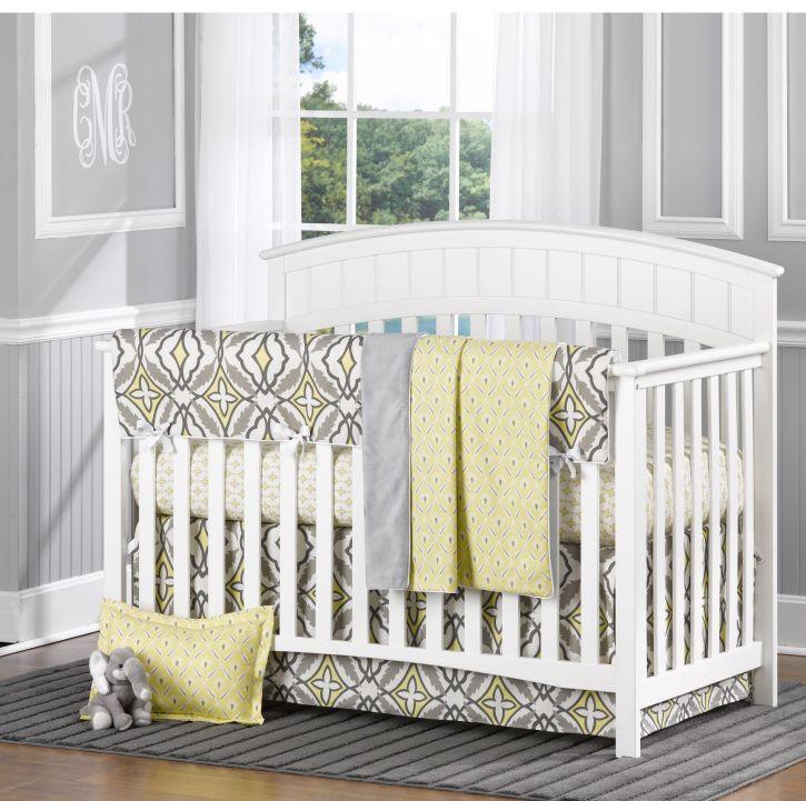 Gray and Yellow Eden 4 Piece Crib