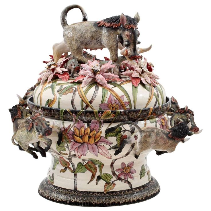 Warthog Tureen Centerpiece by Ardmore Ceramics from South Africa | From a unique collection of antique and modern centerpieces at https://www.1stdibs.com/furniture/dining-entertaining/centerpieces/