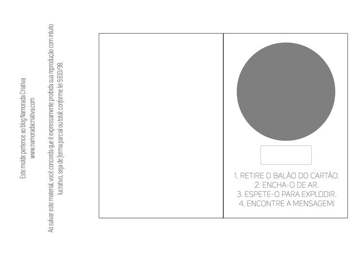 Imprima o molde do cartão em papel com gramatura superior a 180. Para ficar mais firme!