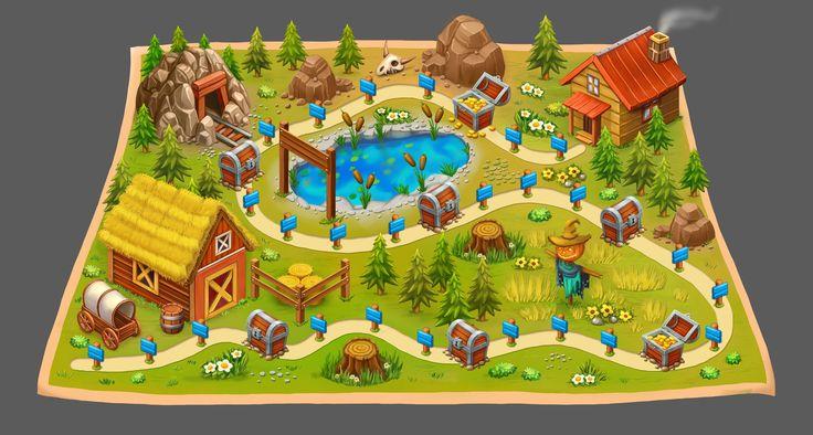 Map Wild West Farm, Daria Chu on ArtStation at https://www.artstation.com/artwork/Em1Z8