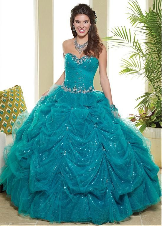 Chic Tulle & Sequin Lace Sweetheart Neckline Floor-length Ball Gown Quinceanera Dress