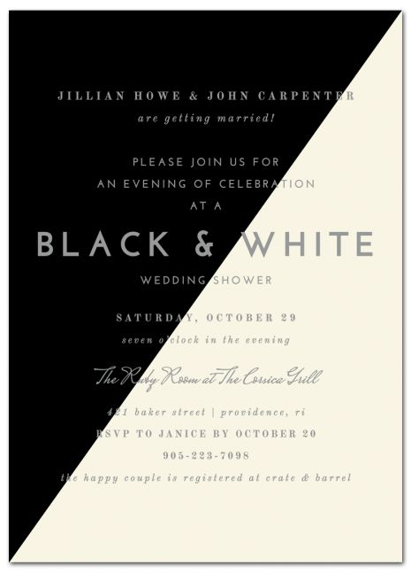 Sophisticated Black & White Couples Shower Invitation | www.papersnaps.com | #WeddingInvitation #bridalshower #blackandwhitewedding