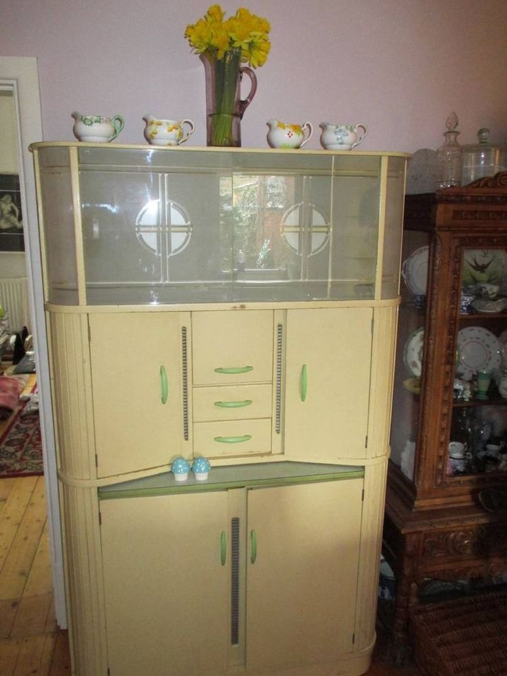 203 best kitchen cabinets hutches cupboards images on for Vintage kitchen units uk