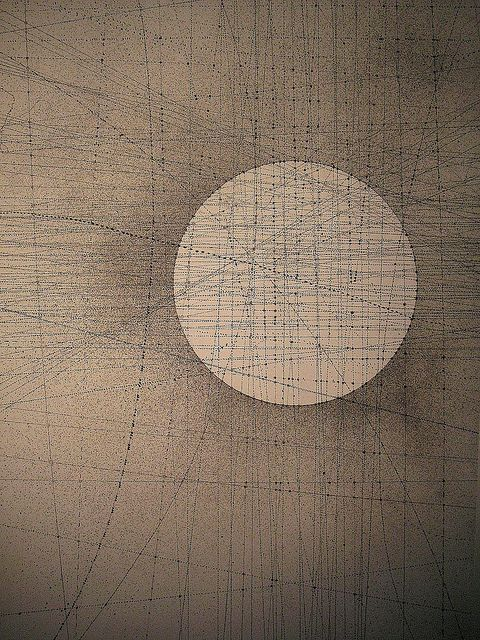 C1 by Emma McNally. These subtle illustrations look like they could have been created using a complex computer algorithim or generative art software, but they are all meticulously hand drawn with graphite on large sheets of paper. The subtle textures and patterns have a beautiful, eery, astronomic feel to them.