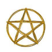 Yellow Gold Woven Wicker Pentagram.