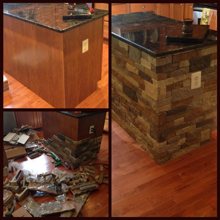 Kitchen island makeover done with AirStone.