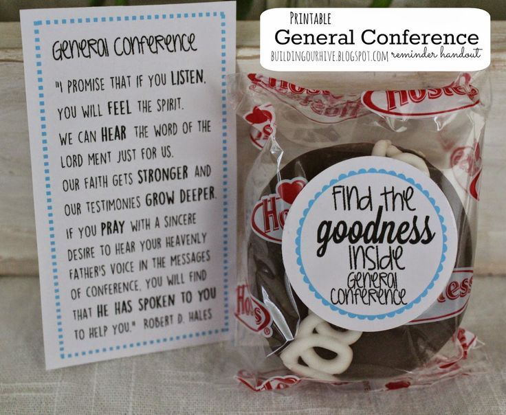 "Free cupcake tag and quote-- ""find the goodness inside General Conference"" from buildingourhive.blogspot.com"