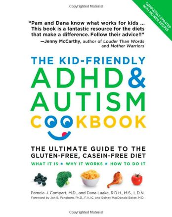 The Kid-Friendly ADHD & Autism Cookbook covers a gluten-free and casein-free diet. #additudemag and #adhdplate