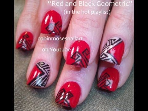 3 Nail Art Tutorials | DIY Red and Black Geometric cut out Design Tutorial - http://www.nailtech6.com/3-nail-art-tutorials-diy-red-and-black-geometric-cut-out-design-tutorial/
