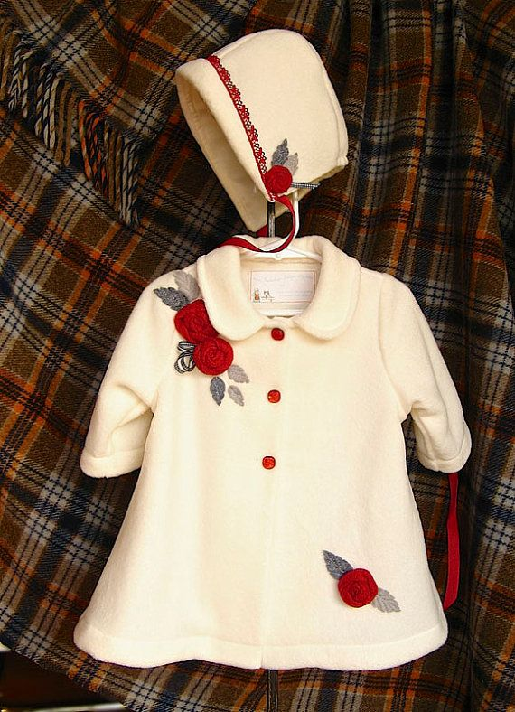 Gorgeous ivory fleece baby infant coat. Beautiful, rich red roses on cream fleece. on Etsy, $70.00