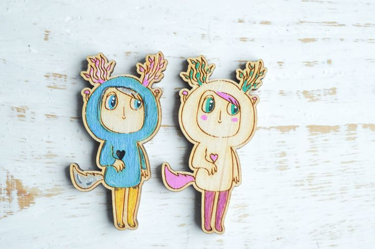 "Wooden Brooch ""Attitude"", Wooden Brooch, Cute Wooden Brooch, hand painted by WaterFallWorkshop on Etsy"