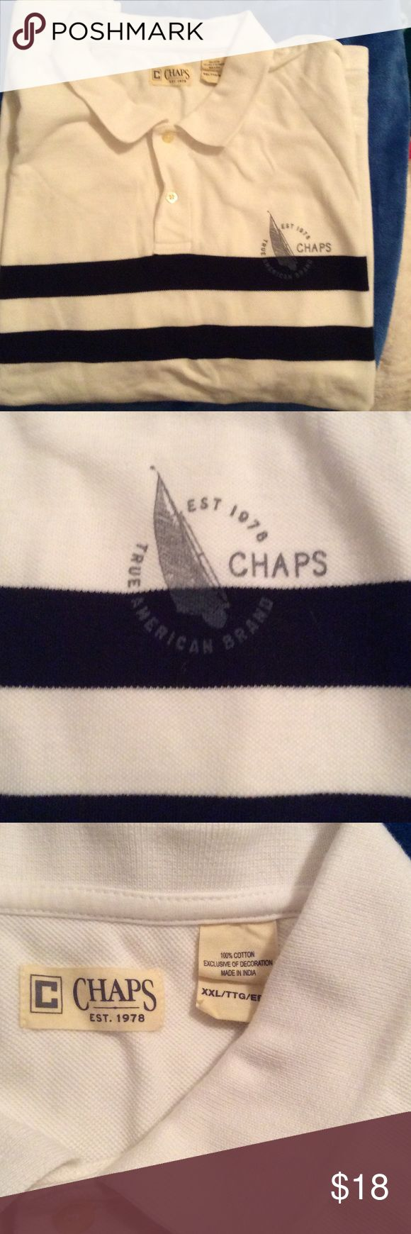 XXL CHAPS men's polo shirt white with dark blue XXL CHAPS POLO. SHIRT white with dark blue stripes only worn once. Chaps Shirts Polos