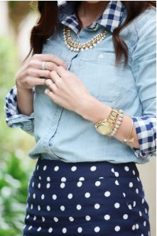 mixing patternsMerrick Art, Fashion, Polka Dots, Style, Clothing, Mixed Prints, Dots Skirts, Denim, Mixed Pattern