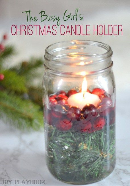 Take a mason jar and add greenery, fresh cranberries, and a floating candle! Such an easy way to make a pretty Christmas display. Love this idea for the holidays.