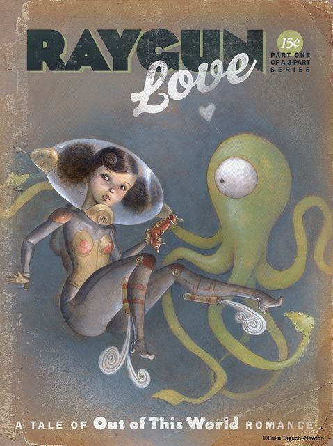 Skin tight suit? Check. Ray gun? Check. Octopus? Check. Ons y va!