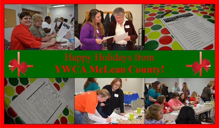 Happy Holidays from YWCA McLean County! We celebrated with a holiday party last Friday evening with holiday carols sung by our very own Matt Skibo, Mingle Bingo, a Mix & Match the Staff game and a delicious meal provided by Custom Catering!