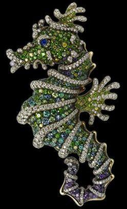 Faberge' seahorse pin