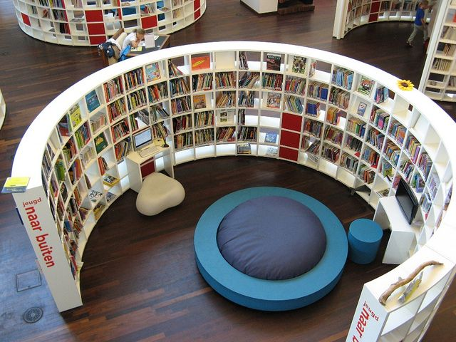 Public Library Amsterdam ... need to find curved shelves and build my own little library room ...