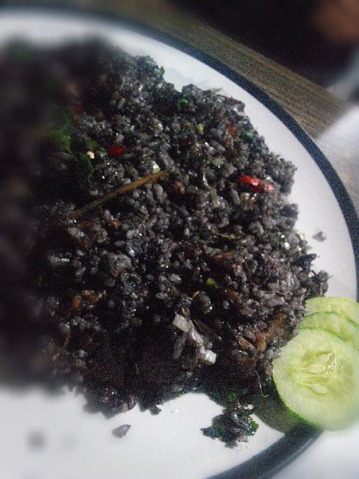 The ultimate Nasi Goreng Item. It's a fried rice with squid ink and surprised me, it taste delicious @RM Legoh Bandung