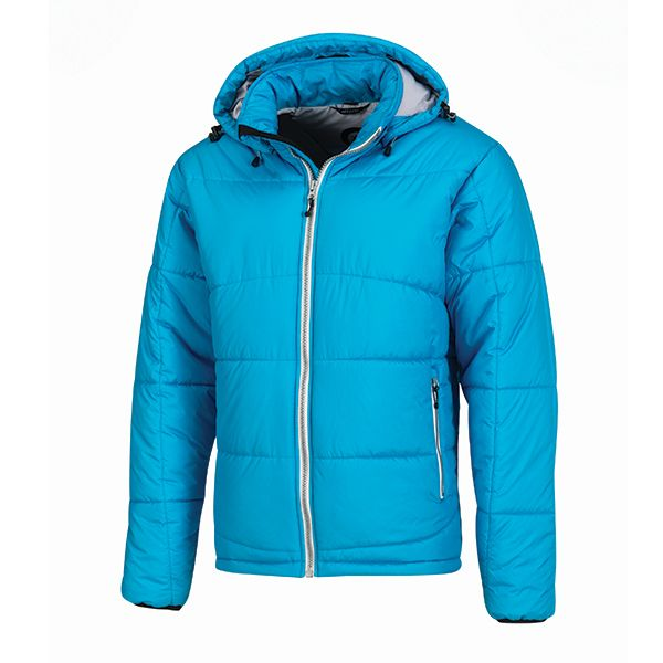 XD Apparel's - Blue Heaven Soft sustainable all-round winter jacket made of 100% recycled polyester with 170-gram polyester insulation, including jacket pouch and detachable hood, down free. Standard exchangeable zipper puller in black.