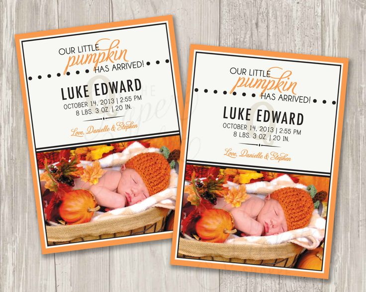 Our Little Pumpkin Birth Announcement | Printable by ThePaperVioletShoppe on Etsy https://www.etsy.com/listing/191817902/our-little-pumpkin-birth-announcement