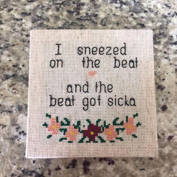 floral rap lyrics Beyoncé cross stitch canvas