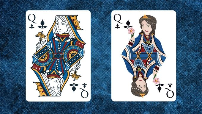 Prototype image comparing Marquis Noble Queen of Clubs and Royal Queen of Clubs.  Marquis Playing Cards A Classically Inspired Premium Custom Playing Card Series by Brendan Hong.