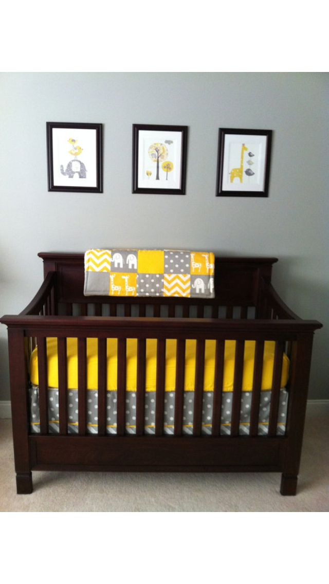 Gender neutral baby room idea. love the bedding!