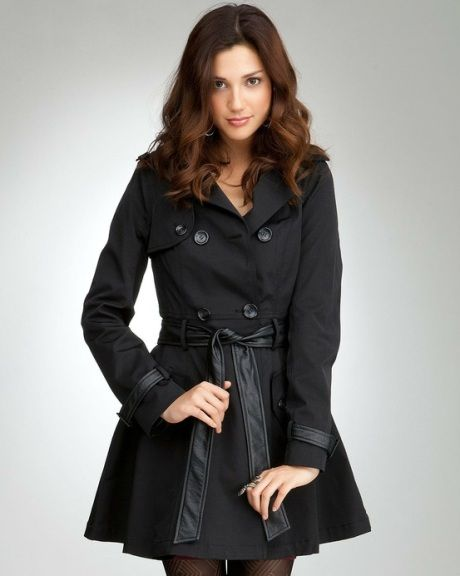 Bebe Contrast Trim Trench Coat - super cute corset back as worn by Jennifer Lawrence in Silver Linings Playbook