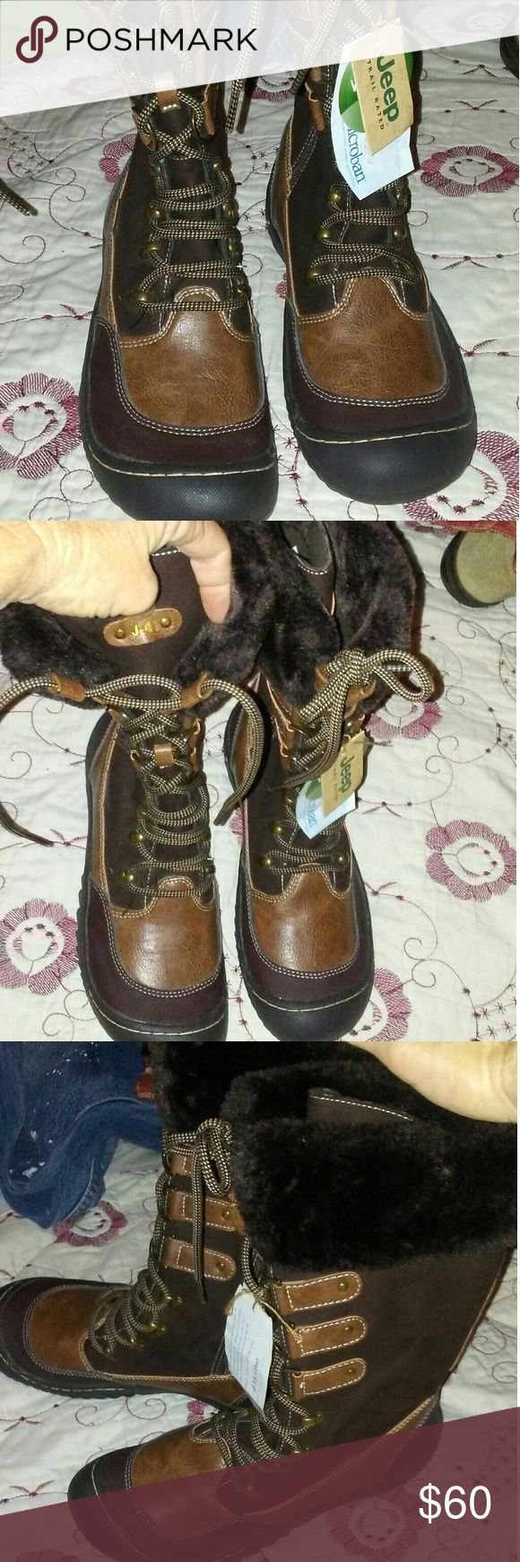 Jeeps Boots Size 8.5 Weather Ready Jeeps durable weather ready J41's size 8.5. Womens. Lace up with sturdy leather loops at top. Zipper on inner leg. Soft faux fur around inside n top. Rubber soles. Earth tones. New. Jeep Shoes Winter & Rain Boots