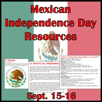 Celebrate Mexico's biggest holiday: September 16 with this Independence Day resource pack.6 pages include the History of the Independence, How it is celebrated in Mexico (El Grito and los Desfiles) Information about the Flag and Coat of Seals, and Facts about Mexico. Also includes links of videos to show in class.