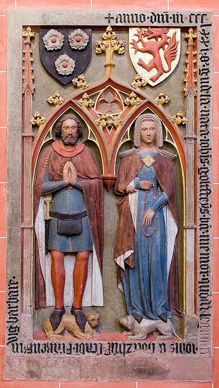 Tomb effigies of Johann von Holzhausen († 1393) and his wife Guda, geb. Goldstein († 1371) in Frankfurt Cathedral.
