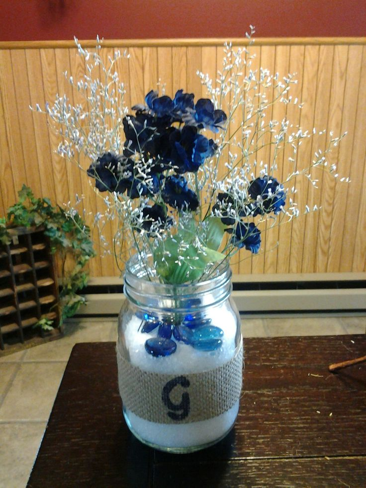 Reception Centerpiece Made From Mason Jars Decorated With