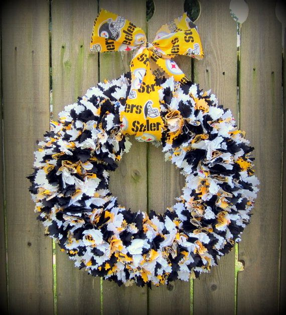 Pittsburgh Steelers Football Fabric Wreath by OhSewBlessedBoutique, $34.95