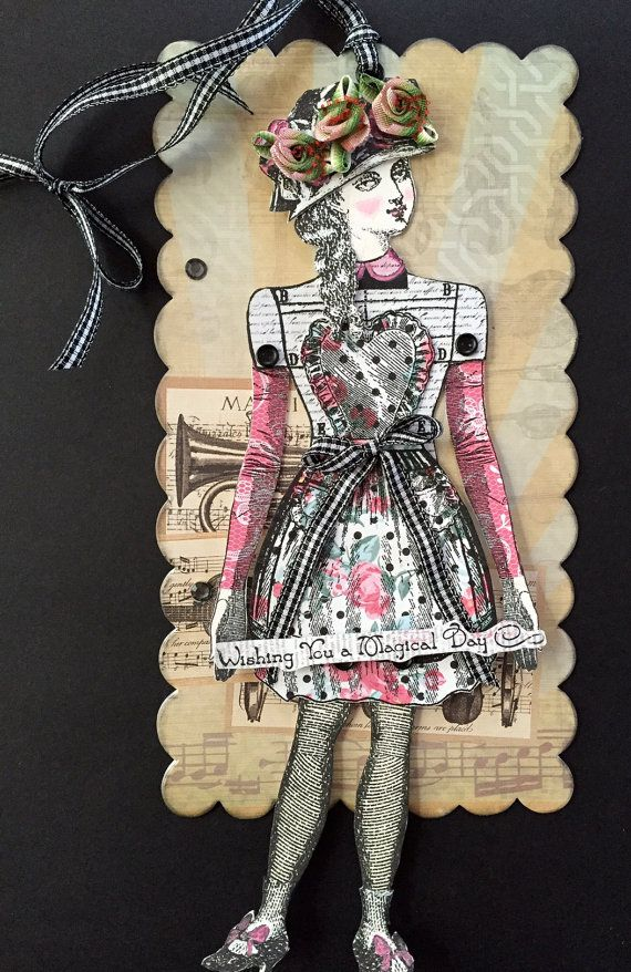 Valentine Art TagHandmade Paper Doll Articulated by ParisPluie