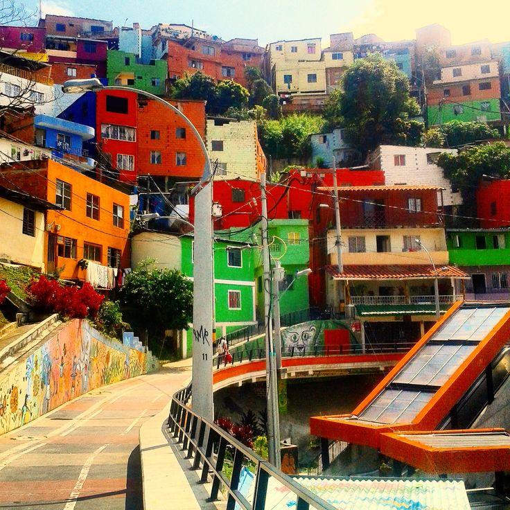 Comuna 13, Medellín, Colombia. Electric Escalators and Colourful Buildings.