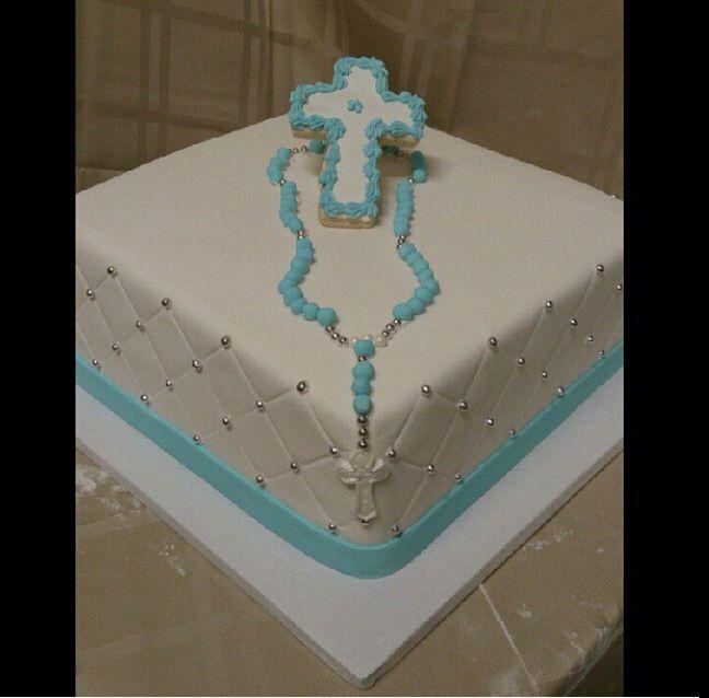 Baptism Cake With Rosary Beads Baptism Cake Communion