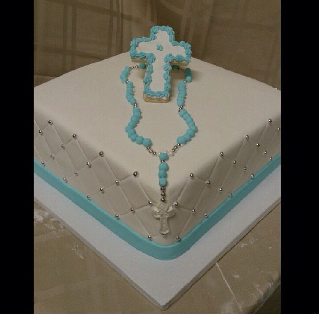Baptism Cake With Rosary Beads Communion Cakes Cake