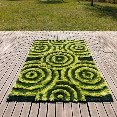 Compra online la alfombra 3D Bubbles al mejor precio. Alfombra moderna color verde en poliéster con formas concéntricas.