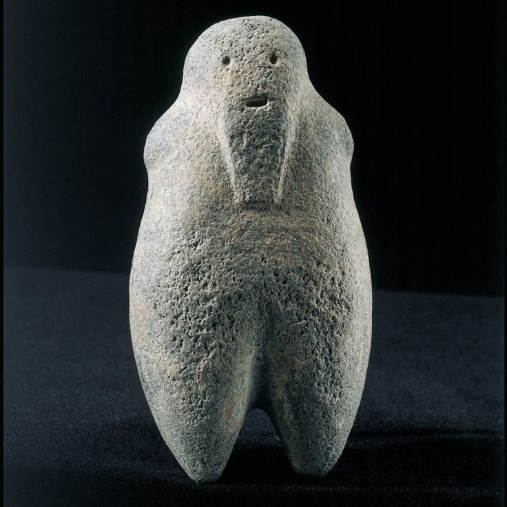 Syro-Anatolian Basalt Bearded Male Idol  Culture : Anatolian  Period : Late Bronze Age - Early Iron Age (Second Half of the 2nd Millennium B.C.)  Material : Basalt  Dimensions : Height: 9.7 cm