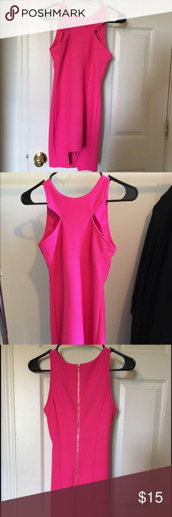 Pink Bodycon Dress Bright pink cotton Bodycon Dress with mesh-like fabric xenia Dresses Mini