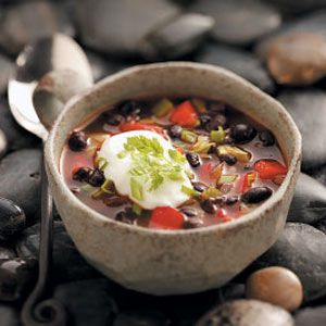 Black Bean Soup  1 cup equals 222 calories, 5 g fat (1 g saturated fat), 5 mg cholesterol, 779 mg sodium, 32 g carbohydrate, 9 g fiber, 11 g protein. Diabetic Exchanges: 2 starch, 1 lean meat, 1 vegetable, 1 fat.