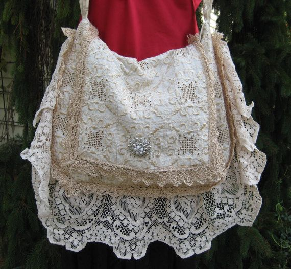 Gypsy Cream Vintage Lace Bags and Purses by CatzStitchedFantasy