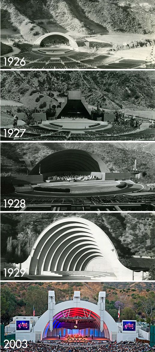 The various and iconic shells at the Hollywood Bowl over the years, spanning 1926 to the present.