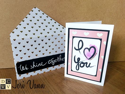 Valentines Day - I Love You Card by Design Team Member Jeri! She used the DCWV Ultimate Tag Stack and the DCWV Envelope DIY Project Stack.