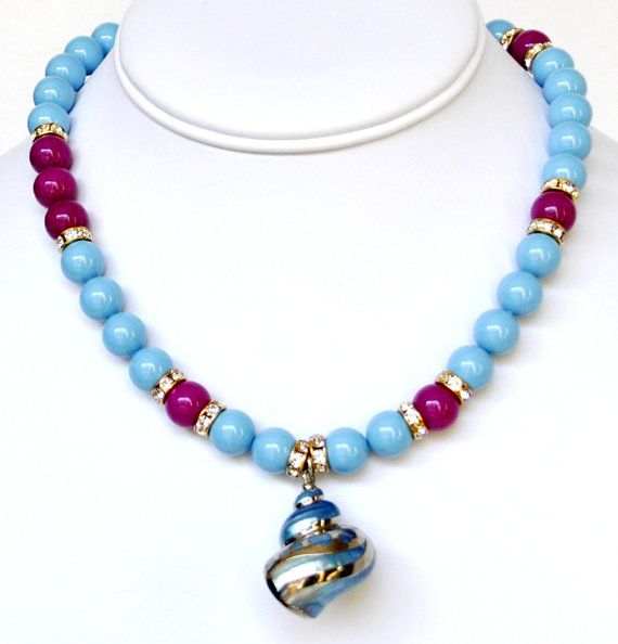 Blue Pearl Necklace Handmade Beaded Jewelry in Silver Beaded Necklace Swarovski Pearls with Pendant